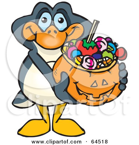 Royalty-Free (RF) Clipart Illustration of a Trick Or Treating Penguin Holding A Pumpkin Basket Full Of Halloween Candy by Dennis Holmes Designs