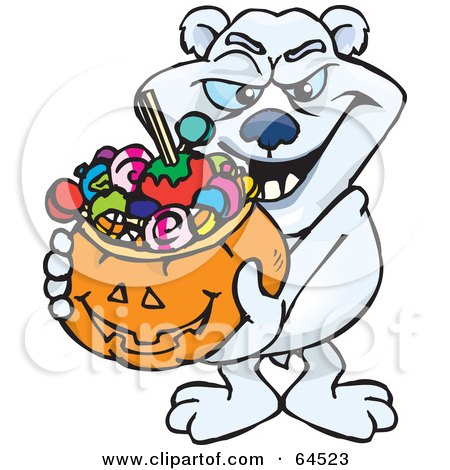 Royalty-Free (RF) Clipart Illustration of a Trick Or Treating Polar Bear Holding A Pumpkin Basket Full Of Halloween Candy by Dennis Holmes Designs