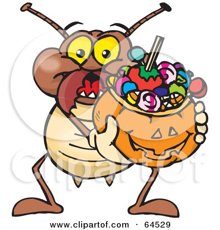 Royalty-Free (RF) Clipart Illustration of a Trick Or Treating Termite Holding A Pumpkin Basket Full Of Halloween Candy by Dennis Holmes Designs