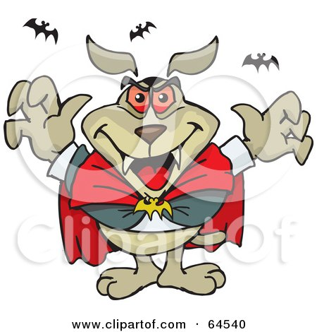 Royalty-Free (RF) Clipart Illustration of a Sparkey Dog Dracula With Bats by Dennis Holmes Designs