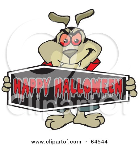 Royalty-Free (RF) Clipart Illustration of a Sparkey Dog Holding A Happy Halloween Coffin Sign by Dennis Holmes Designs