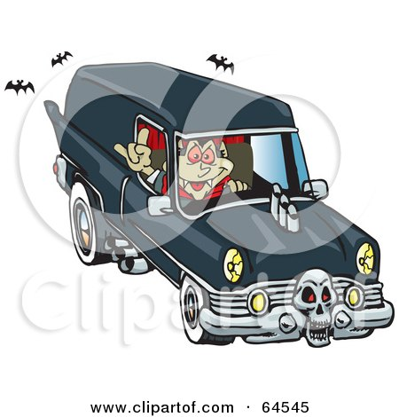 Royalty-free clipart picture of a peaceful vampire driving a hearse,