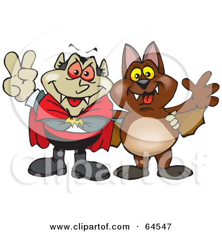 Royalty-Free (RF) Clipart Illustration of a Peaceful Vampire And Bat Gesturing Peace Signs by Dennis Holmes Designs