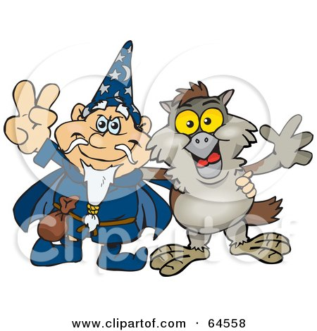 Royalty-Free (RF) Clipart Illustration of a Wizard And Owl Gesturing Peace Signs by Dennis Holmes Designs