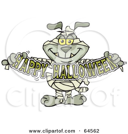 Royalty-Free (RF) Clipart Illustration of a Sparkey Dog Mummy Holdign A Happy Halloween Sign by Dennis Holmes Designs
