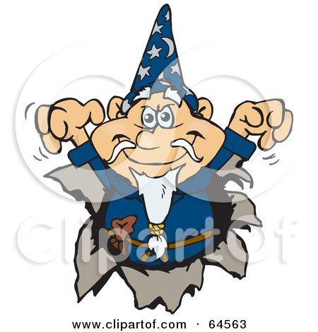 Royalty-Free (RF) Clipart Illustration of a Wizard Breaking Through A Wall by Dennis Holmes Designs