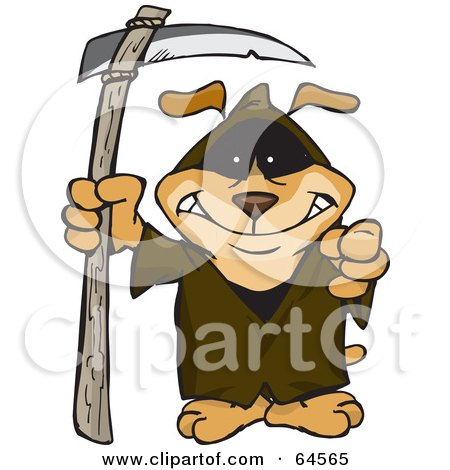 Royalty-Free (RF) Clipart Illustration of a Sparkey Dog Grim Reaper by Dennis Holmes Designs