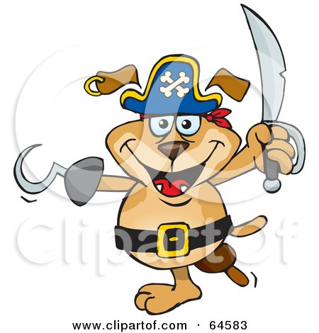 Royalty-Free (RF) Clipart Illustration of a Sparkey Dog Pirate With A Peg Leg And Hook Hand by Dennis Holmes Designs
