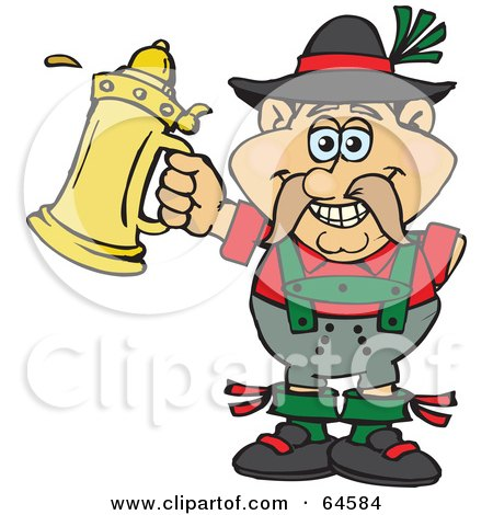 Royalty-Free (RF) Clipart Illustration of an Oktoberfest Man With A Golden Beer Stein by Dennis Holmes Designs