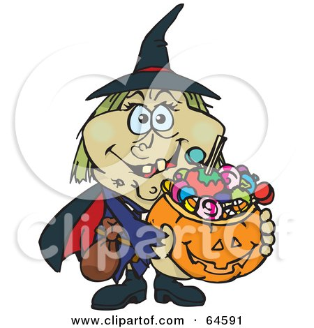 Royalty-Free (RF) Clipart Illustration of a Trick Or Treating Witch Holding A Pumpkin Basket Full Of Halloween Candy by Dennis Holmes Designs