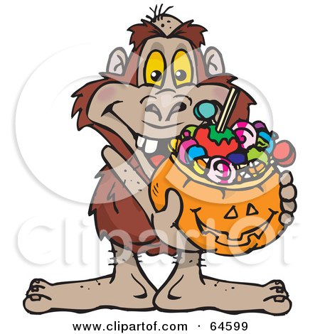 Royalty-Free (RF) Clipart Illustration of a Trick Or Treating Yowie Holding A Pumpkin Basket Full Of Halloween Candy by Dennis Holmes Designs