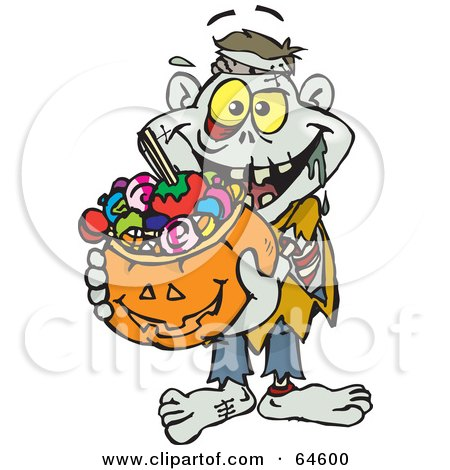 Royalty-Free (RF) Clipart Illustration of a Trick Or Treating Zombie Holding A Pumpkin Basket Full Of Halloween Candy by Dennis Holmes Designs