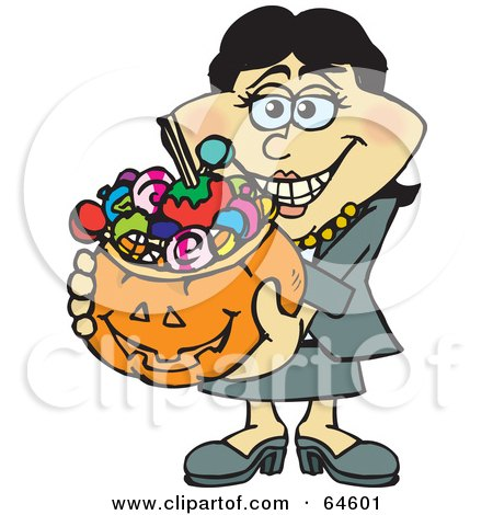 Royalty-Free (RF) Clipart Illustration of a Trick Or Treating Woman Holding A Pumpkin Basket Full Of Halloween Candy - Version 3 by Dennis Holmes Designs