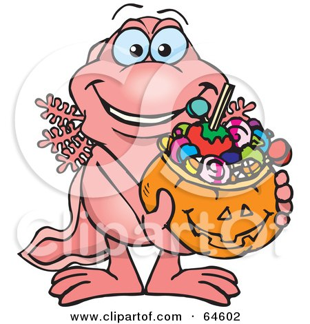 Royalty-Free (RF) Clipart Illustration of a Trick Or Treating Walking Fish Holding A Pumpkin Basket Full Of Halloween Candy by Dennis Holmes Designs