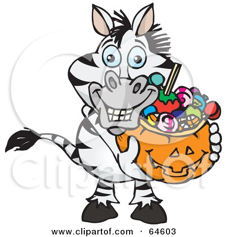 Royalty-Free (RF) Clipart Illustration of a Trick Or Treating Zebra Holding A Pumpkin Basket Full Of Halloween Candy by Dennis Holmes Designs