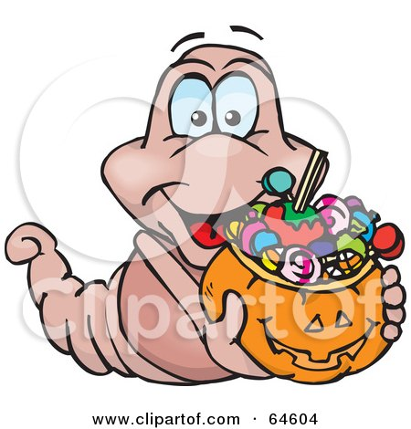 Royalty-Free (RF) Clipart Illustration of a Trick Or Treating Worm Holding A Pumpkin Basket Full Of Halloween Candy by Dennis Holmes Designs