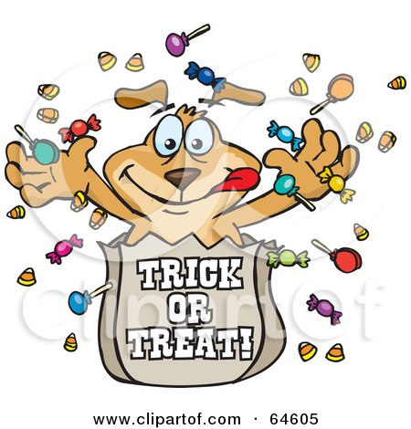 Royalty-Free (RF) Clipart Illustration of a Sparkey Dog Tossing Halloween Candy Out Of A Trick Or Trick Bag by Dennis Holmes Designs