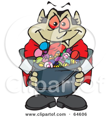 Royalty-Free (RF) Clipart Illustration of a Trick Or Treating Vampire Holding A Cauldron Full Of Halloween Candy by Dennis Holmes Designs