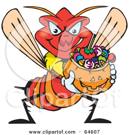 Royalty-Free (RF) Clipart Illustration of a Trick Or Treating Wasp Holding A Pumpkin Basket Full Of Halloween Candy by Dennis Holmes Designs
