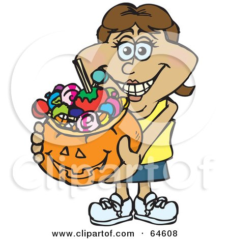 Royalty-Free (RF) Clipart Illustration of a Trick Or Treating Woman Holding A Pumpkin Basket Full Of Halloween Candy - Version 8 by Dennis Holmes Designs