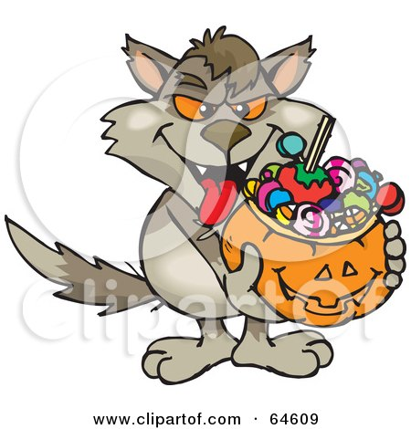 Royalty-Free (RF) Clipart Illustration of a Trick Or Treating Wolf Holding A Pumpkin Basket Full Of Halloween Candy by Dennis Holmes Designs