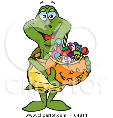 Royalty-Free (RF) Clipart Illustration of a Trick Or Treating Turtle Holding A Pumpkin Basket Full Of Halloween Candy by Dennis Holmes Designs