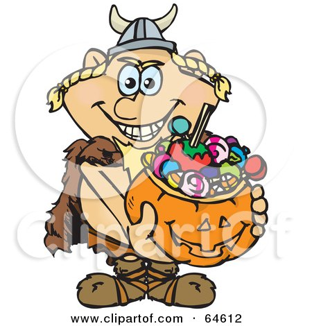 Royalty-Free (RF) Clipart Illustration of a Trick Or Treating Viking Holding A Pumpkin Basket Full Of Halloween Candy by Dennis Holmes Designs