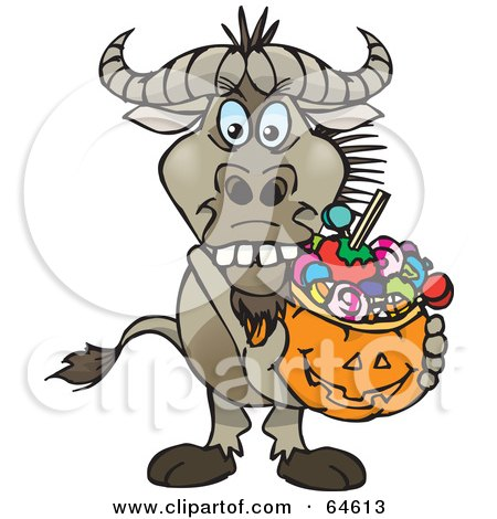 Royalty-Free (RF) Clipart Illustration of a Trick Or Treating Wildebeest Holding A Pumpkin Basket Full Of Halloween Candy by Dennis Holmes Designs