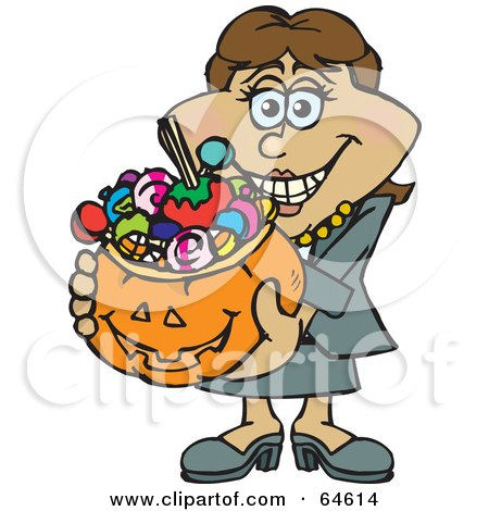 Royalty-Free (RF) Clipart Illustration of a Trick Or Treating Woman Holding A Pumpkin Basket Full Of Halloween Candy - Version 4 by Dennis Holmes Designs