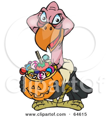 Royalty-Free (RF) Clipart Illustration of a Trick Or Treating Vulture Holding A Pumpkin Basket Full Of Halloween Candy by Dennis Holmes Designs