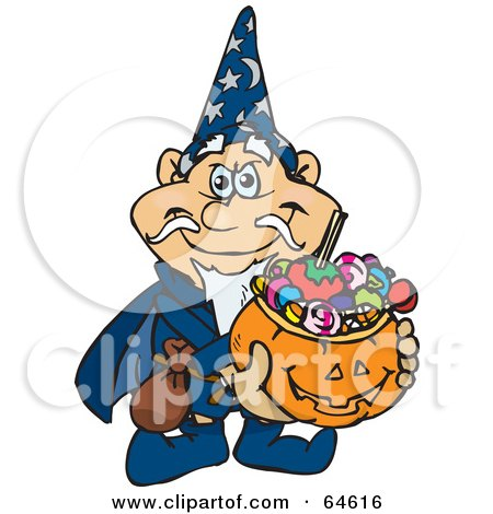 Royalty-Free (RF) Clipart Illustration of a Trick Or Treating Wizard Holding A Pumpkin Basket Full Of Halloween Candy by Dennis Holmes Designs