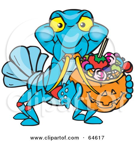 Royalty-Free (RF) Clipart Illustration of a Trick Or Treating Yabby Holding A Pumpkin Basket Full Of Halloween Candy by Dennis Holmes Designs