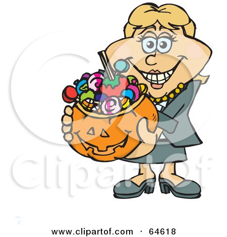Royalty-Free (RF) Clipart Illustration of a Trick Or Treating Woman Holding A Pumpkin Basket Full Of Halloween Candy - Version 1 by Dennis Holmes Designs