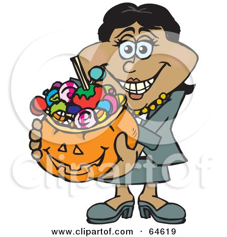 Royalty-Free (RF) Clipart Illustration of a Trick Or Treating Woman Holding A Pumpkin Basket Full Of Halloween Candy - Version 2 by Dennis Holmes Designs