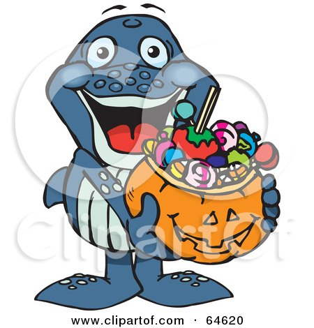 Royalty-Free (RF) Clipart Illustration of a Trick Or Treating Whale Holding A Pumpkin Basket Full Of Halloween Candy by Dennis Holmes Designs