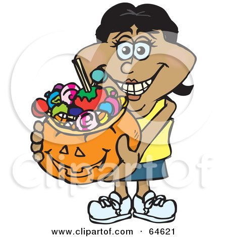Royalty-Free (RF) Clipart Illustration of a Trick Or Treating Woman Holding A Pumpkin Basket Full Of Halloween Candy - Version 6 by Dennis Holmes Designs
