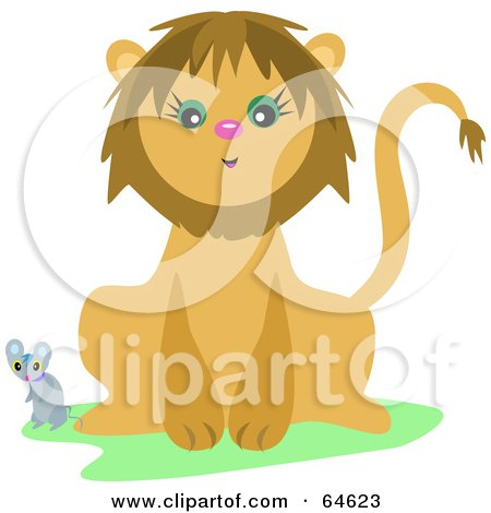 Mouse And A Friendly Lion Posters, Art Prints