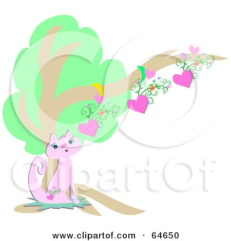 Royalty-free clipart picture of a pretty pink cat with a heart tattoo,