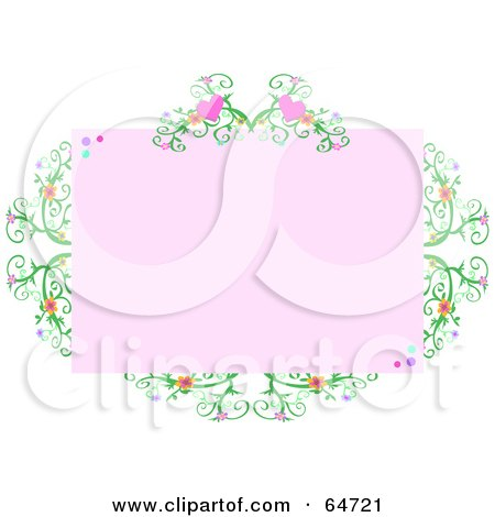 Royalty-Free (RF) Clipart Illustration of a Pink Heart Vine Border Frame by bpearth
