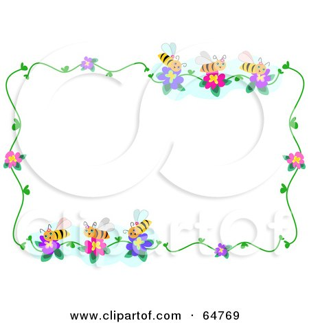 RF) Clipart Illustration of a Bee And Flower Border Frame by bpearth