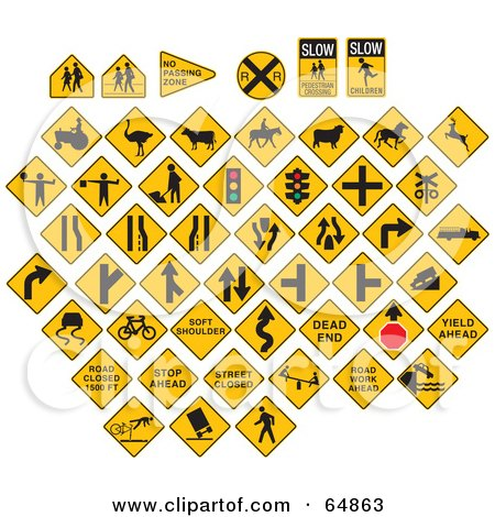 Royalty-Free (RF) Clipart Illustration of a Digital Collage Of Yellow Caution Traffic Signs On White by J Whitt