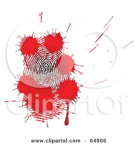 Royalty-Free (RF) Clipart Illustration of Red Blood Splatters Over A Fingerprint by Frog974