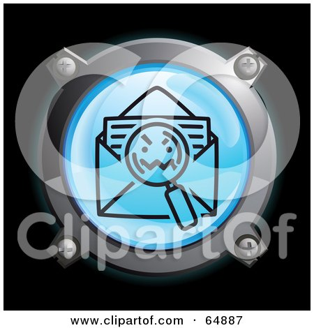 Royalty-Free (RF) Clipart Illustration of a Blue Letter Search Button With Chrome Edges by Frog974