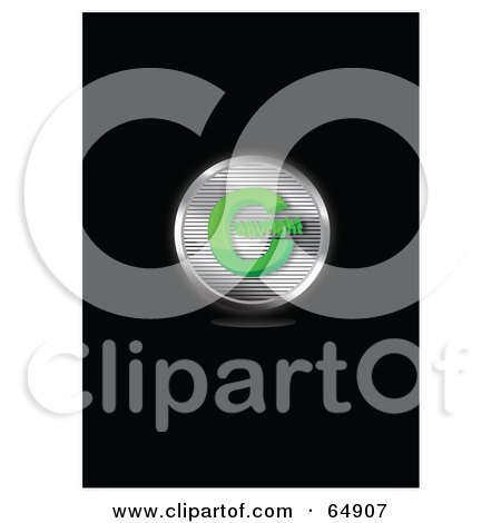 Royalty-Free (RF) Clipart Illustration of a Chrome And Green Copyright Symbol Button by YUHAIZAN YUNUS