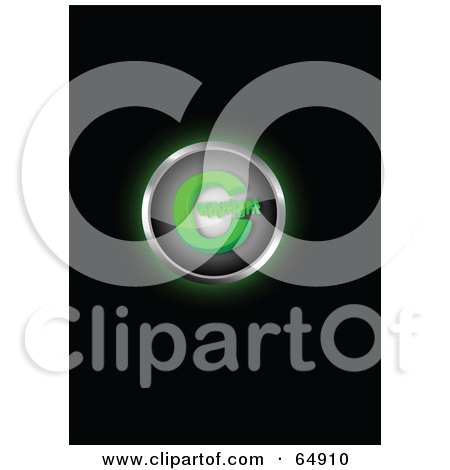 Royalty-Free (RF) Clipart Illustration of a Glowing Green Copyright Symbol Button by YUHAIZAN YUNUS