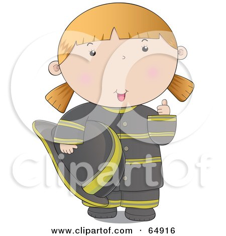 Royalty-Free (RF) Clipart Illustration of a Friendly Fire Woman In A Black Uniform, Giving The Thumbs Up by YUHAIZAN YUNUS