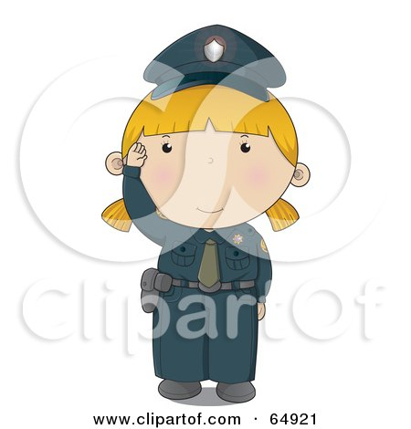 Royalty-Free (RF) Clipart Illustration of a Waving Police Woman In A Blue Uniform by YUHAIZAN YUNUS