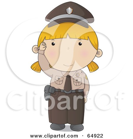 Royalty-Free (RF) Clipart Illustration of a Waving Police Woman In A Brown Uniform by YUHAIZAN YUNUS