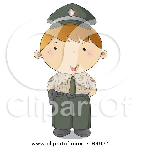 Royalty-Free (RF) Clipart Illustration of a Police Man In A Green And Tan Uniform by YUHAIZAN YUNUS