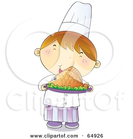 Royalty-Free (RF) Clipart Illustration of a Young Male Chef Boy Holding A Plate Of Hot Seafood by YUHAIZAN YUNUS